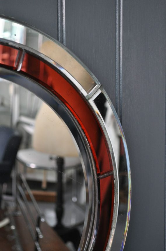 Red frameless mirror