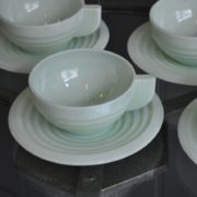 Green cups and saucers