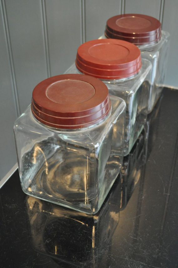 Square storage jars
