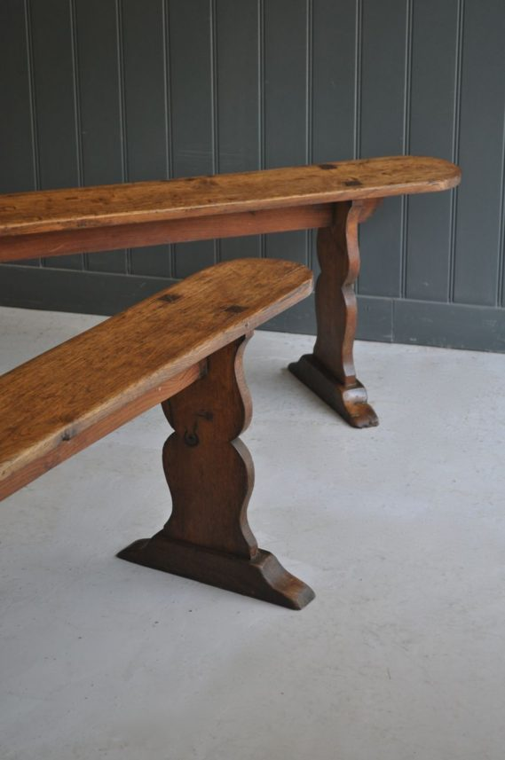 Pair of oak benches
