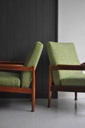 Pair teak chairs