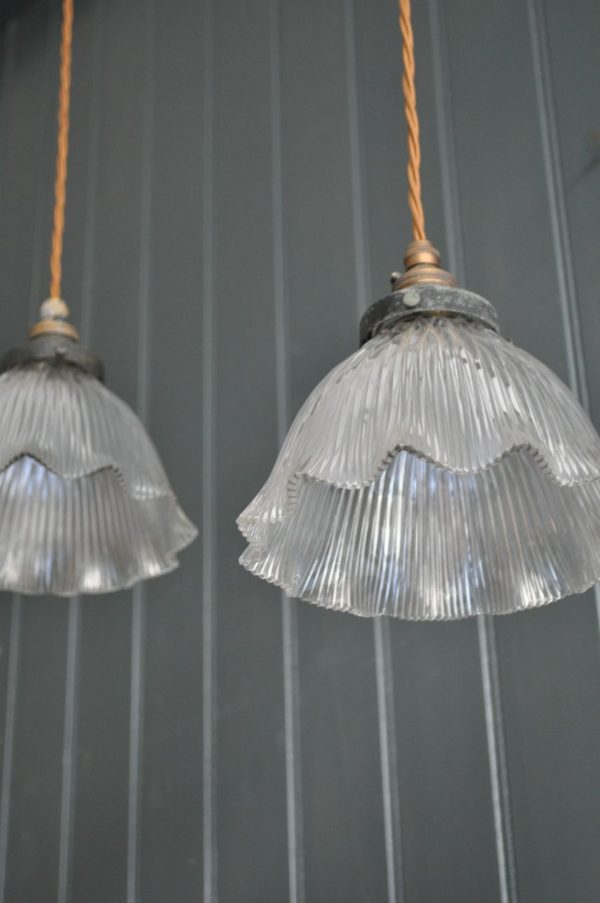 Pair of glass holophanes