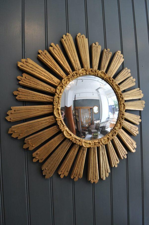 wooden sunburst mirror