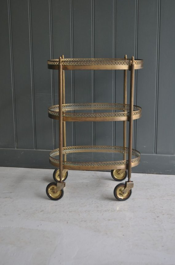 3-tier brass trolley