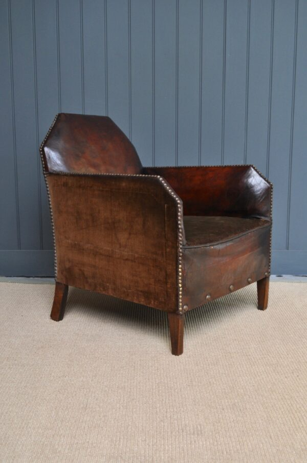 Petite French leather armchair