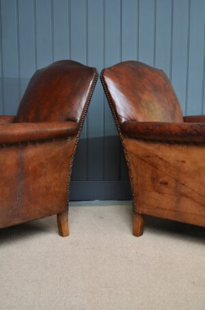 Pair of French leather armchairs