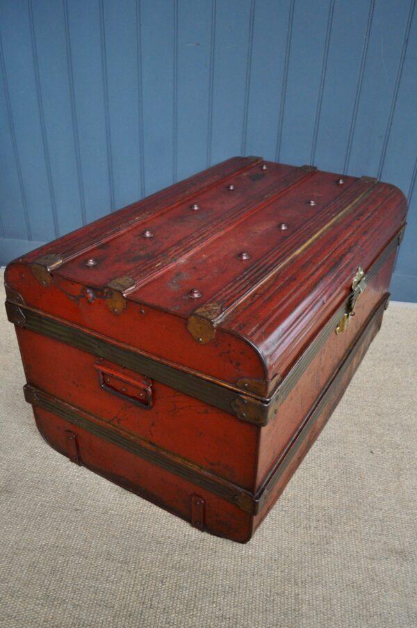 English metal travel trunk